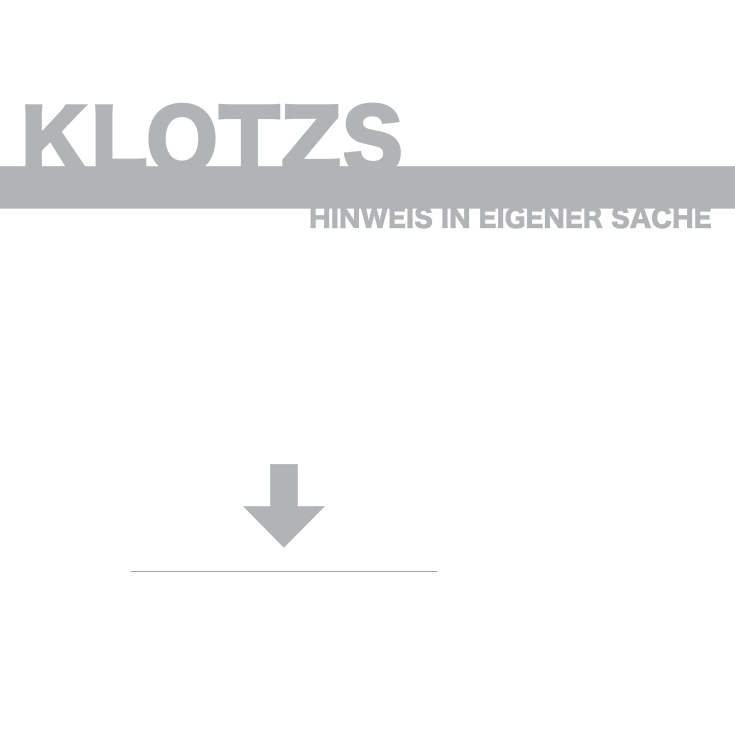 Klotzs 2015 Hinweis in eigener Sache